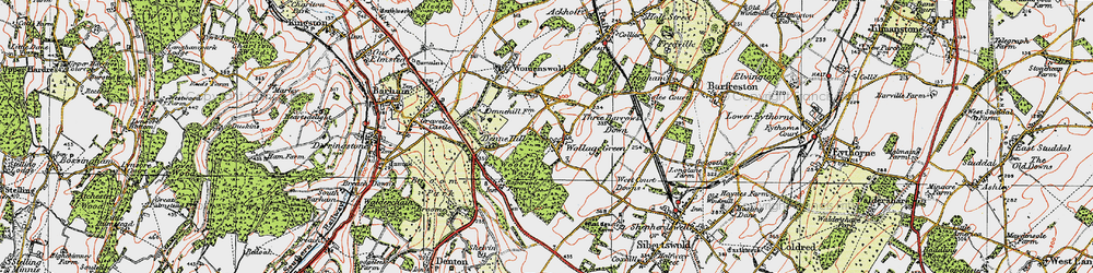 Old map of Woolage Green in 1920