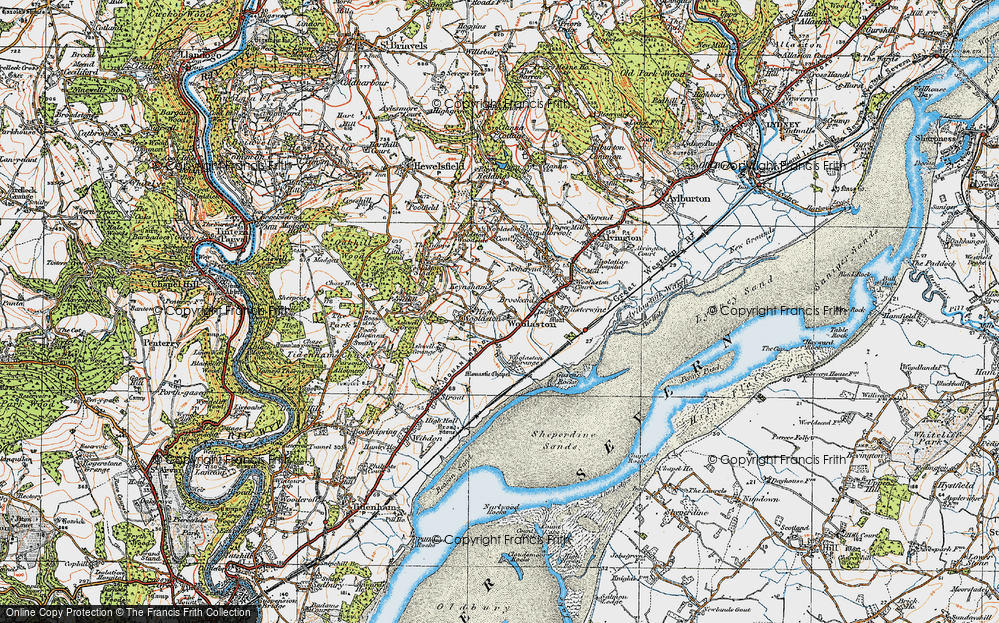 Old Map of Historic Map covering Woolaston Grange in 1919