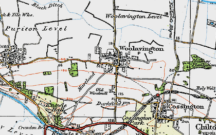 Old map of Woolavington in 1919