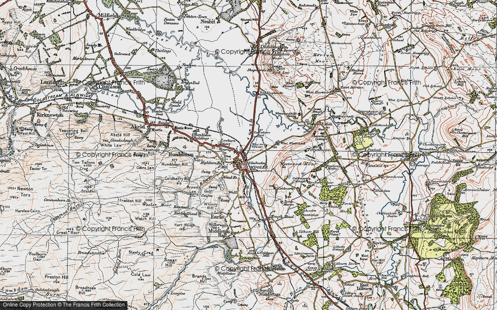 Old Map of Wooler, 1926 in 1926