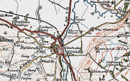 Old map of Wooler in 1926