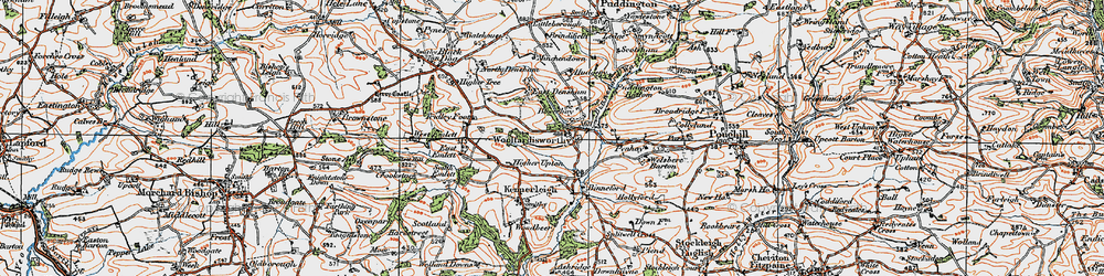 Old map of Woolfardisworthy in 1919