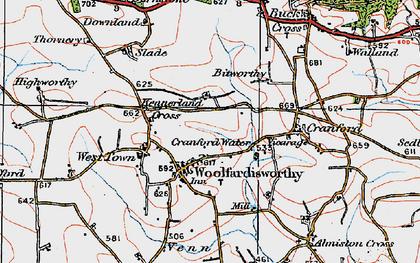 Old map of Woolfardisworthy in 1919