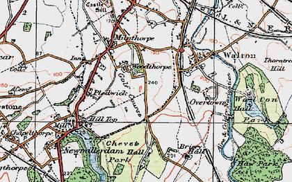 Old map of Woolgreaves in 1925