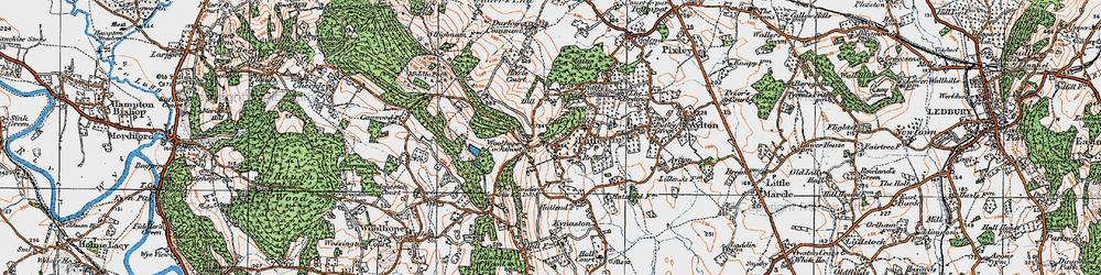 Old map of Woolhope Cockshoot in 1920