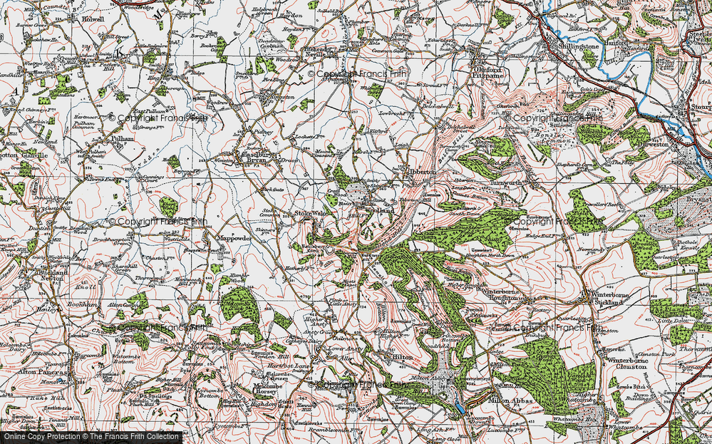 Old Map of Historic Map covering Woolland Hill in 1919