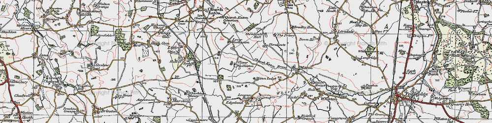 Old map of Woollaston in 1921