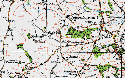 Old map of Awsland in 1919