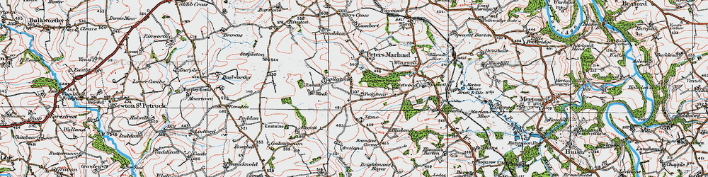 Old map of Woollaton in 1919