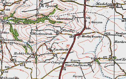 Old map of Woolley in 1919