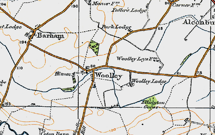 Old map of Woolley in 1920