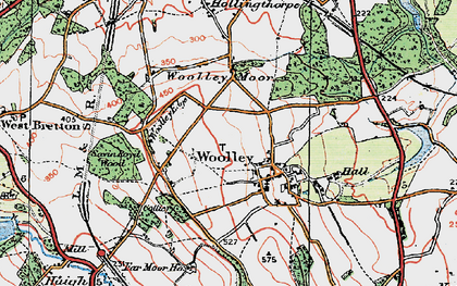 Old map of Woolley Edge Service Area in 1924