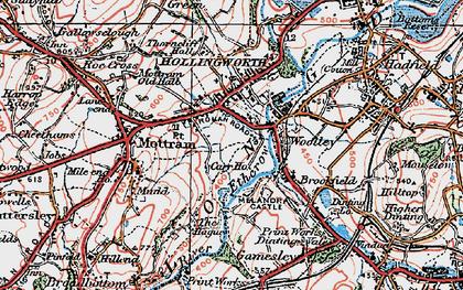 Old map of Woolley Bridge in 1924