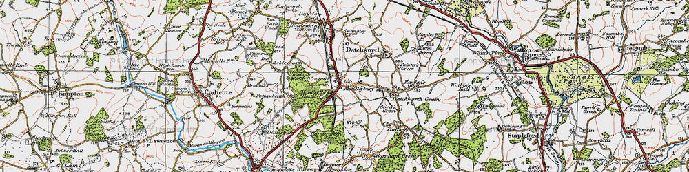 Old map of Woolmer Green in 1920