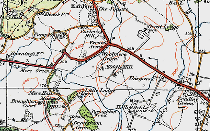 Old map of Woolmere Green in 1919