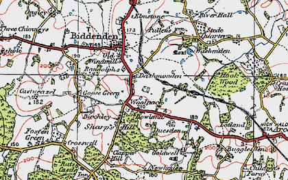 Old map of Woolpack Corner in 1921