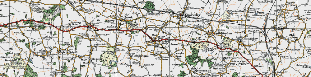 Old map of Woolpit in 1921