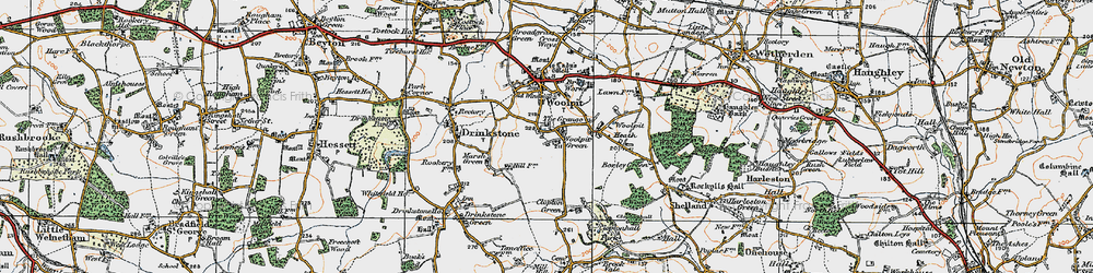 Old map of Woolpit Green in 1921