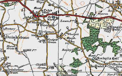 Old map of Woolpit Heath in 1921