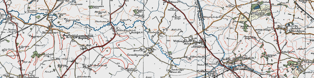 Old map of Woolscott in 1919