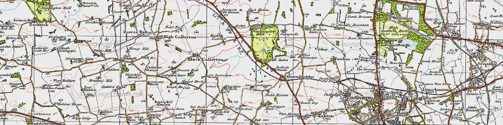 Old map of Woolsington in 1925