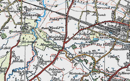 Old map of Woolstanwood in 1923