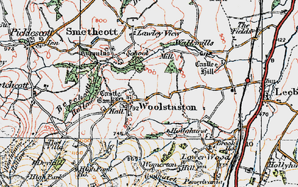 Old map of Woolstaston in 1921
