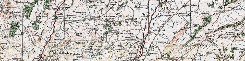 Old map of Woolstaston in 1921