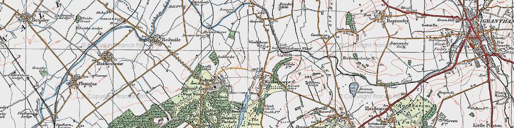 Old map of Woolsthorpe By Belvoir in 1921
