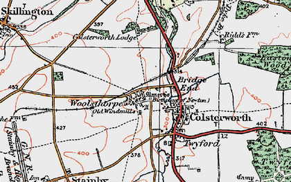 Old map of Woolsthorpe-by-Colsterworth in 1922