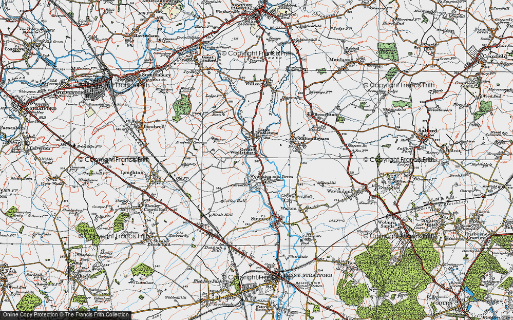 Old Map of Woolstone, 1919 in 1919