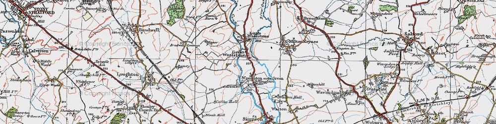 Old map of Woolstone in 1919