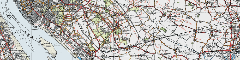 Old map of Woolton in 1923