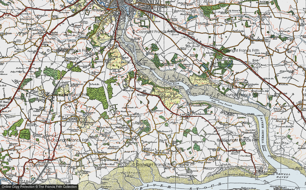 Old Map of Woolverstone, 1921 in 1921