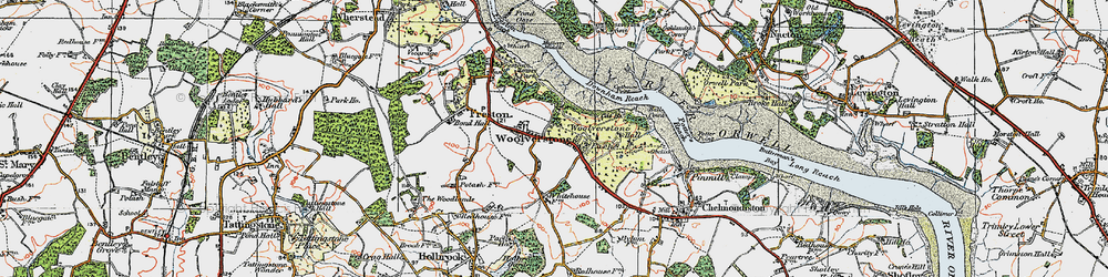 Old map of Woolverstone Park in 1921