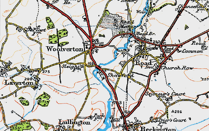 Old map of Woolverton in 1919