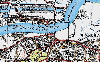 Old map of Woolwich in 1920