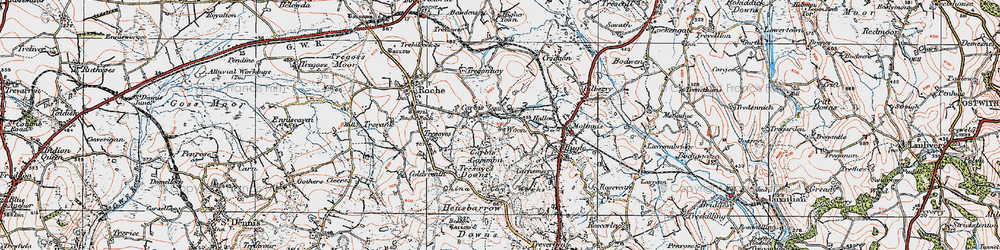 Old map of Woon in 1919