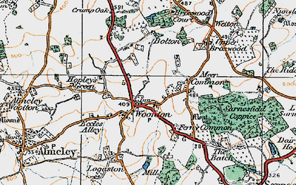 Old map of Woonton in 1920