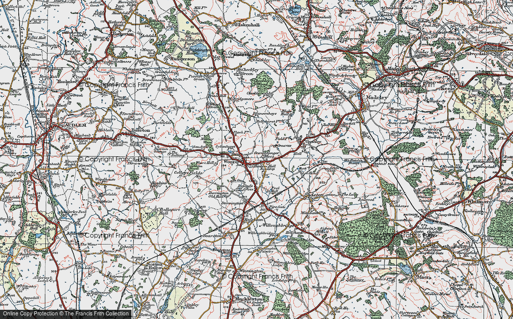 Old Map of Woore, 1921 in 1921