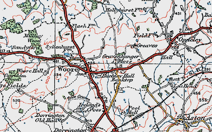Old map of Woore in 1921