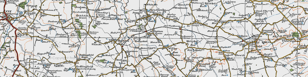Old map of Wootten Green in 1921