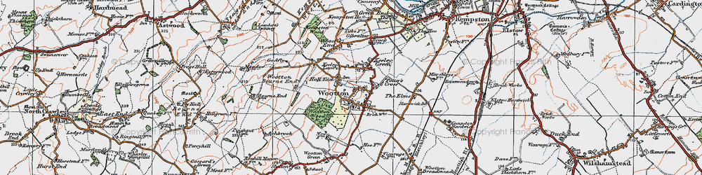 Old map of Wootton in 1919