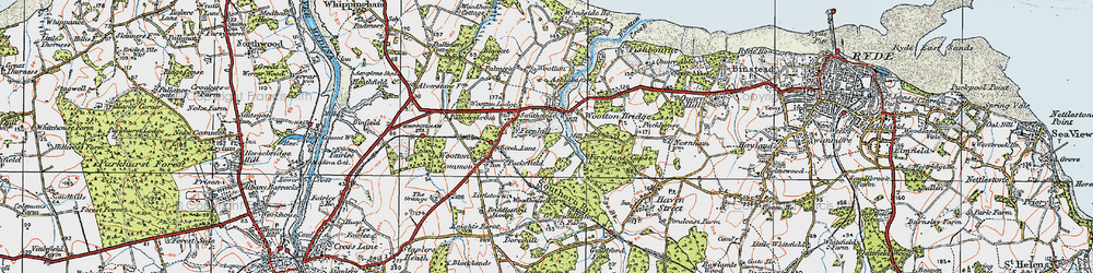 Old map of Wootton Bridge in 1919