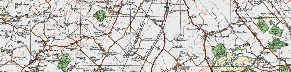 Old map of Wootton Broadmead in 1919