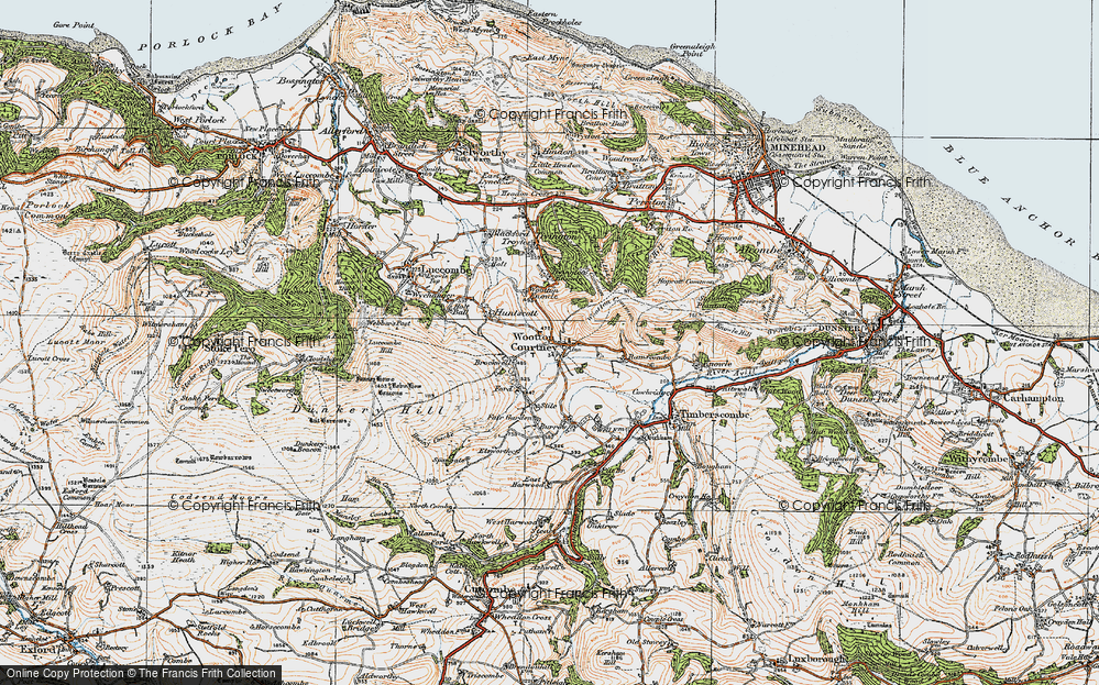 Old Map of Historic Map covering Wootton Common in 1919