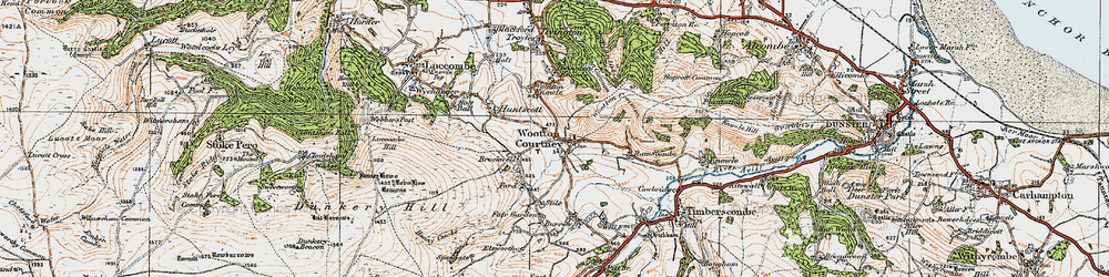 Old map of Wootton Common in 1919