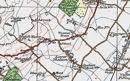 Old map of Wootton Green in 1919