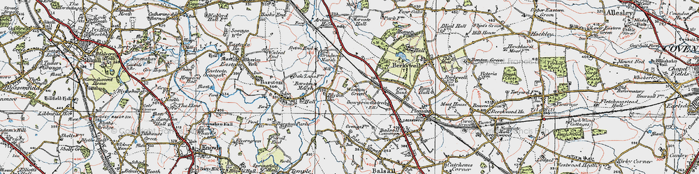 Old map of Wootton Green in 1921