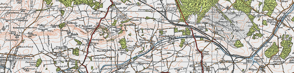Old map of Wootton Rivers in 1919